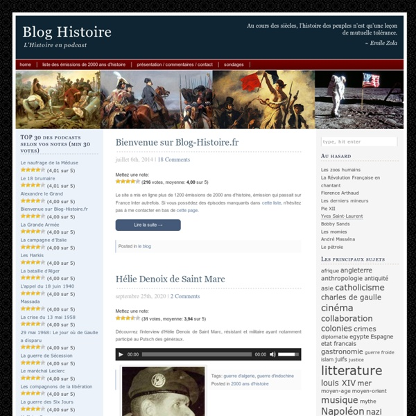 Blog Histoire: podcasts 2000 ans d'Histoire de Patrice Gélinet