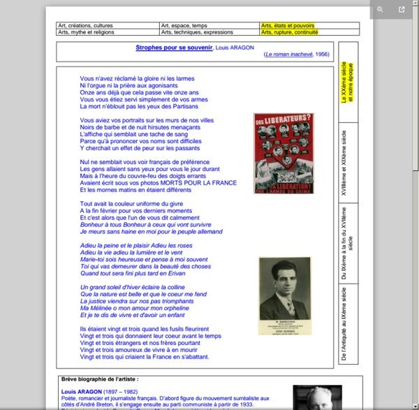 """Fiche HDA : """"Strophes pour se souvenir"""", poème de L. Aragon (1955) - Collège Prévert de Houdain"""