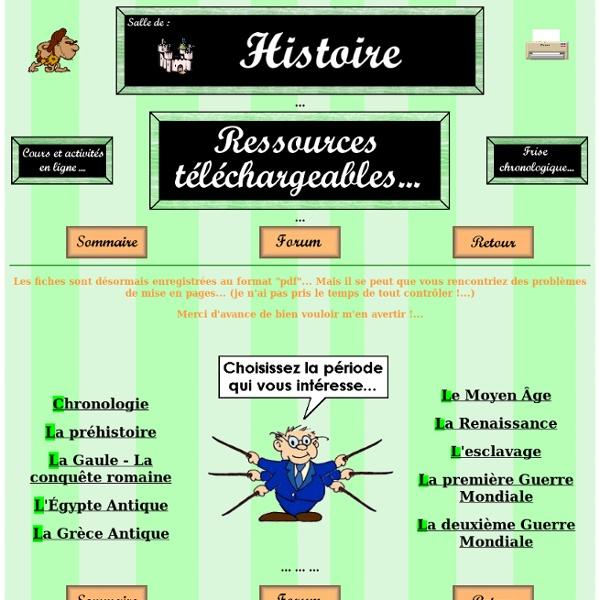 Histoire - Fiches téléchargeables