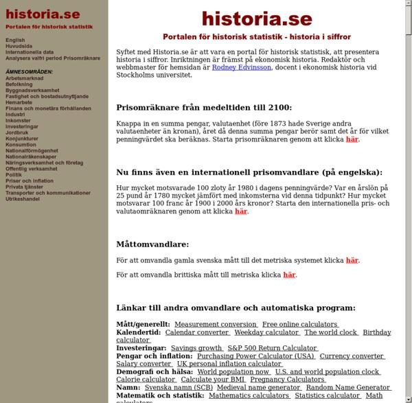 Historia.se - Portalen för historisk statistik, historia och statistik