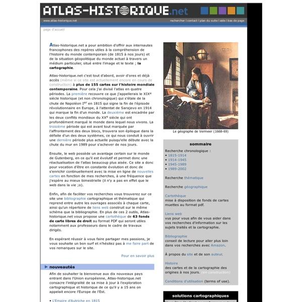 ATLAS HISTORIQUE - Cartographie & histoire