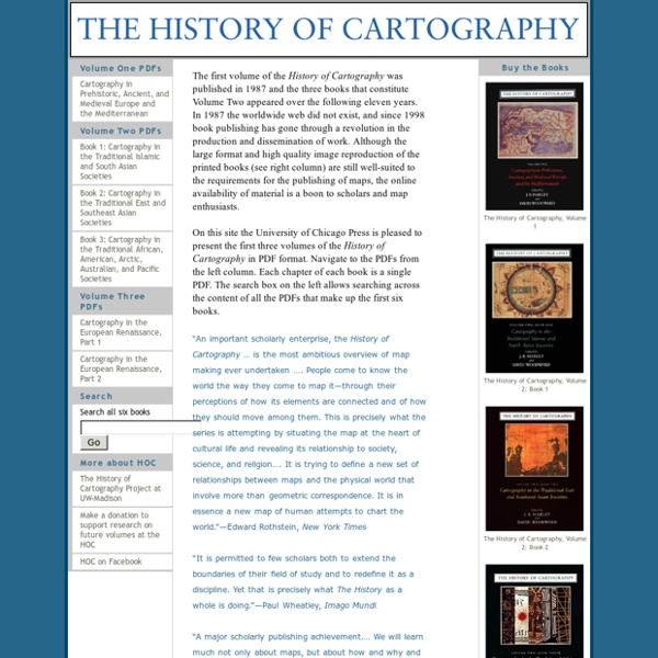 History of Cartography: Volumes One, Two, and Three