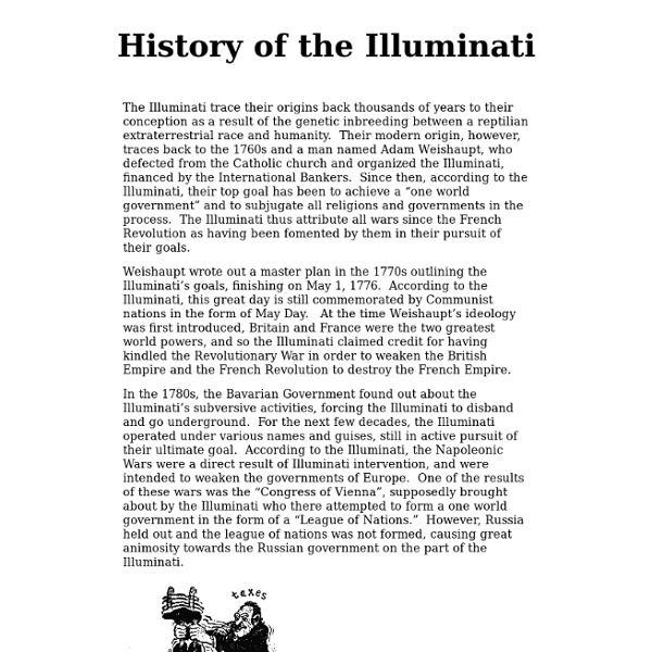 the history of the illuminati The history of the illuminati editor's note: this speech was given in the 1960's it has been widely reprinted throughout the internet whether he is right or wrong, it is especially fascinating to read how three world wars were planned in light of our current events by myron fagan behind the united states and its constitution is a small.