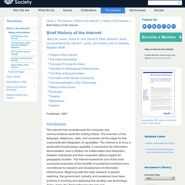 Brief History of the Internet - Internet Timeline