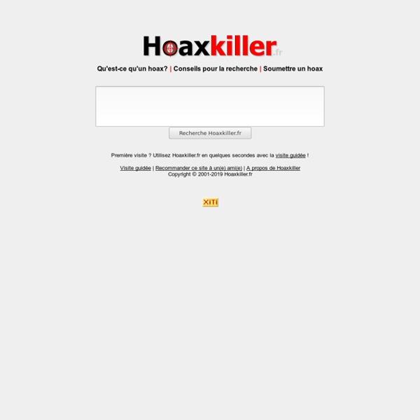 Hoaxkiller.fr, moteur de recherche anti-hoax