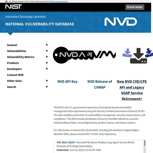 National Vulnerability Database Home