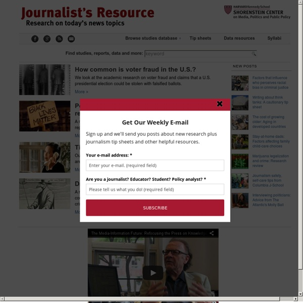 Journalist's Resource: Research for Reporting, from Harvard Shorenstein Center