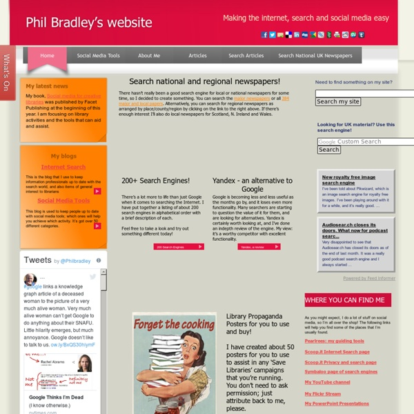 Phil Bradley:Internet search, Librarians, search engines, web search