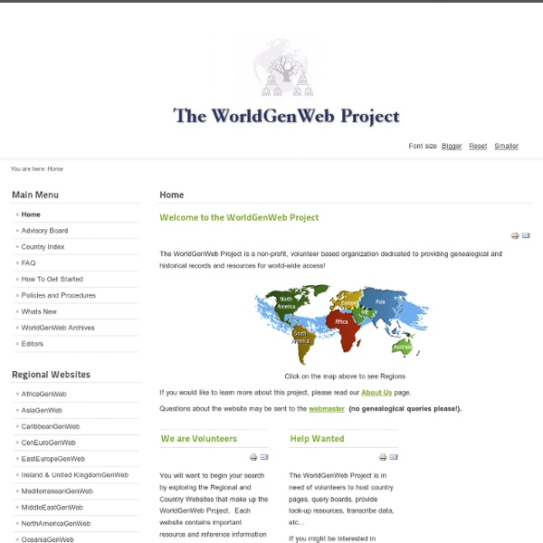 Welcome to the WorldGenWeb Project