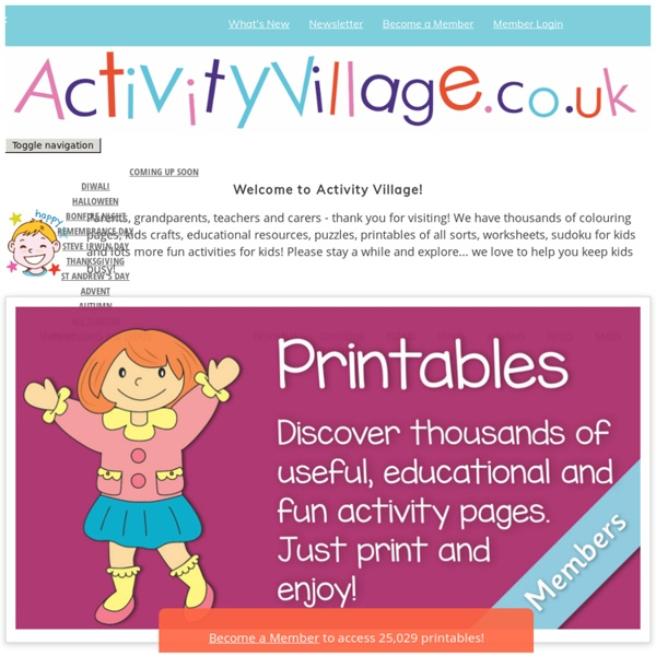ActivityVillage.co.uk - Kids Crafts, Colouring Pages, Printables, Puzzles, Worksheets and Holiday Fun!