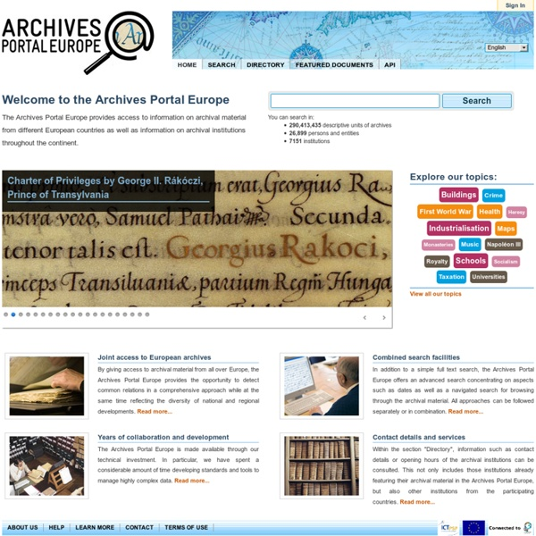 HOME - Archives Portal Europe