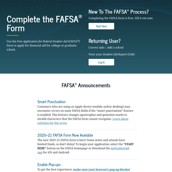 Home - FAFSA on the Web - Federal Student Aid
