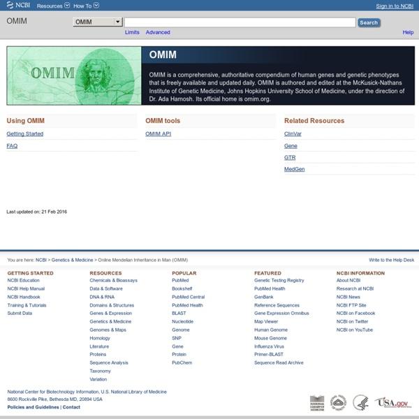 Home - OMIM - NCBI