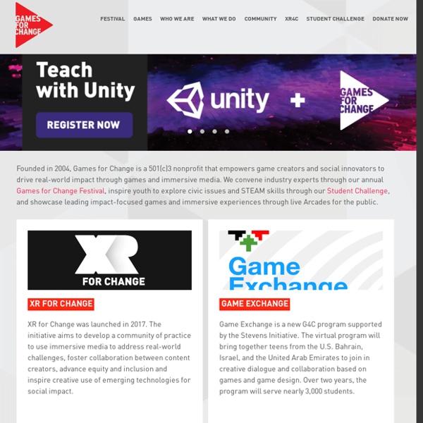 """Association """"Games for Change"""" : mettre le jeu au service du changement social"""