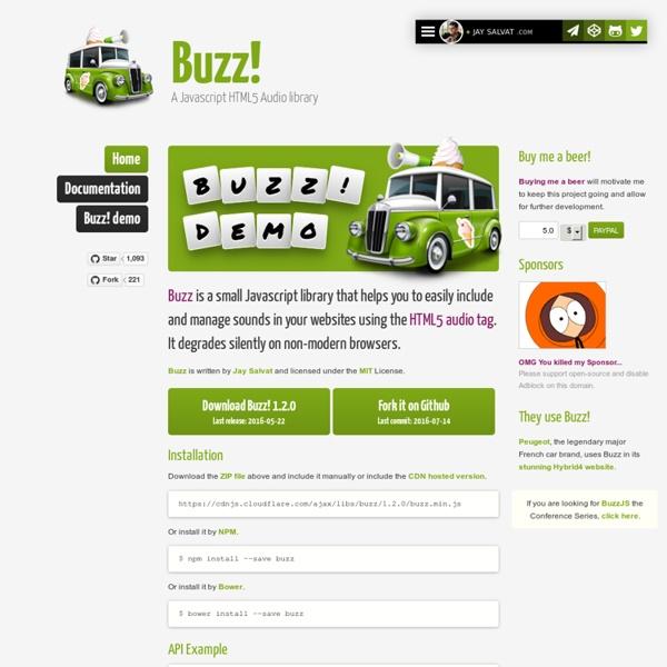 Buzz, a Javascript HTML5 Audio library