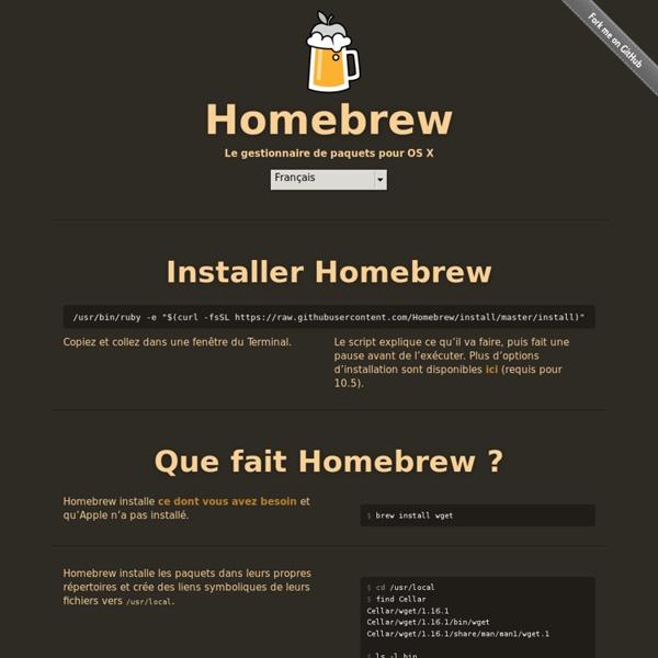Homebrew — Le gestionnaire de paquets pour OSX