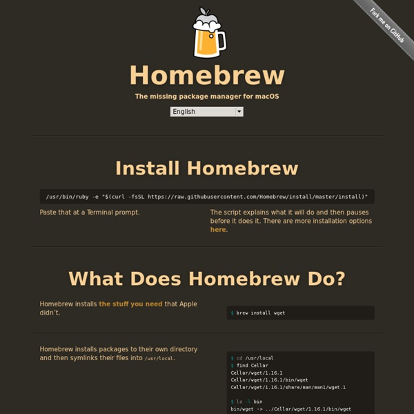 Homebrew — The missing package manager for OS X