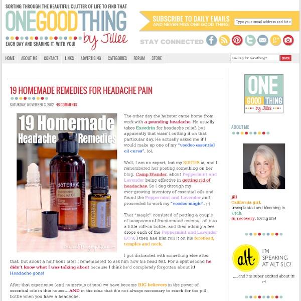 19 Homemade Remedies for Headache PainOne Good Thing by Jillee