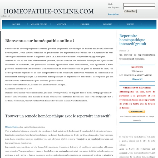 Homeopathie : le repertoire interactif