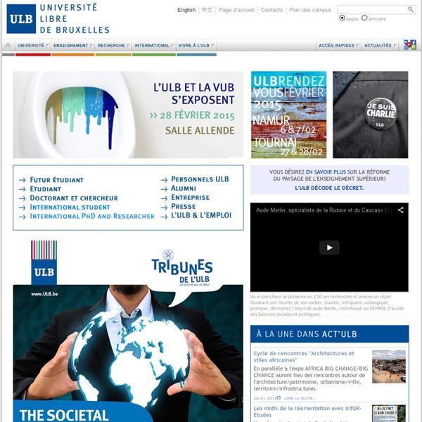 Homepage de l'Université libre de Bruxelles