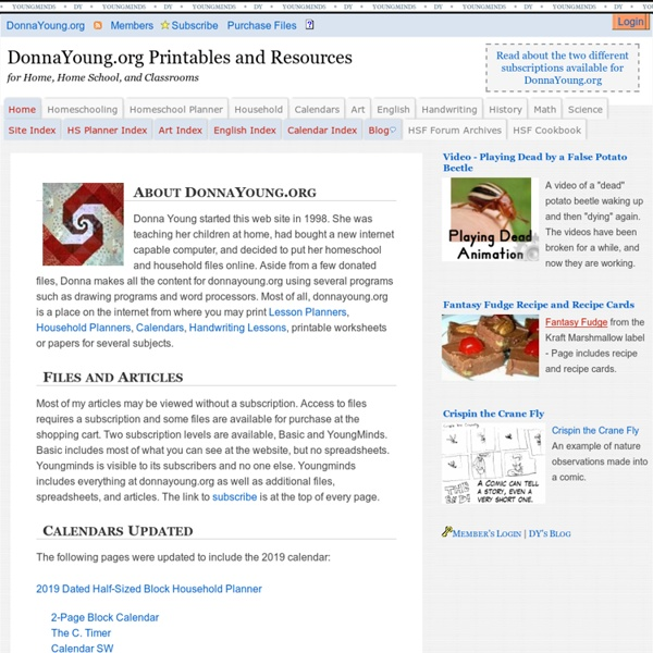 Donna Young's Homeschool Resources and Printables