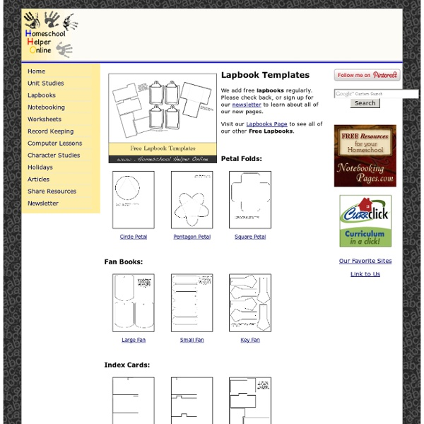 Free Homeschooling LapBook Templates