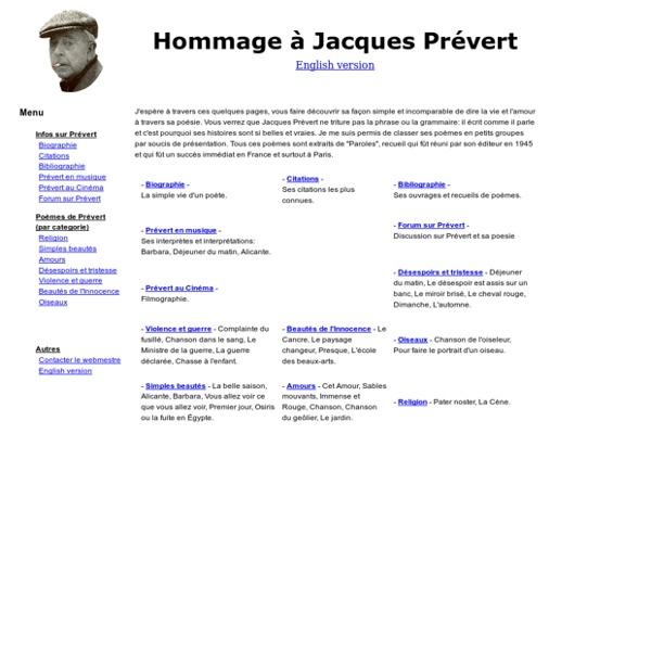 Hommage à Jacques Prévert - Toute sa poésie