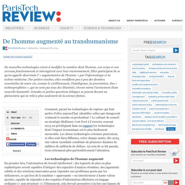 De l'homme augmenté au transhumanisme
