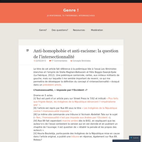 Anti-homophobie et anti-racisme: la question de l'intersectionnalité