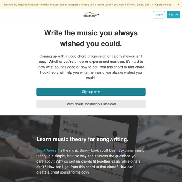 Hooktheory - Music theory, songwriting software, and popular song analyses.