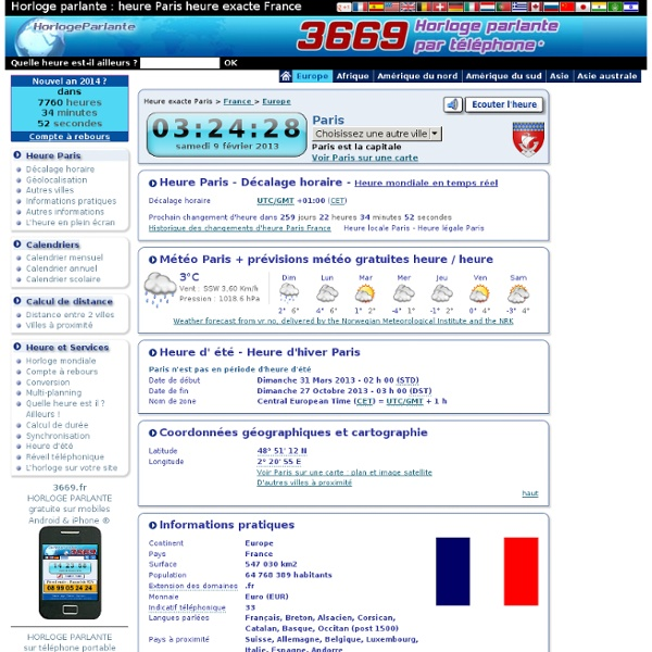3669 Horloge Parlante : heure exacte décalage horaire Europe Ukraine Kiev