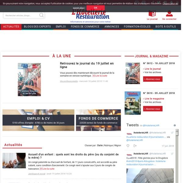L'Hôtellerie Restauration : emplois, jobs