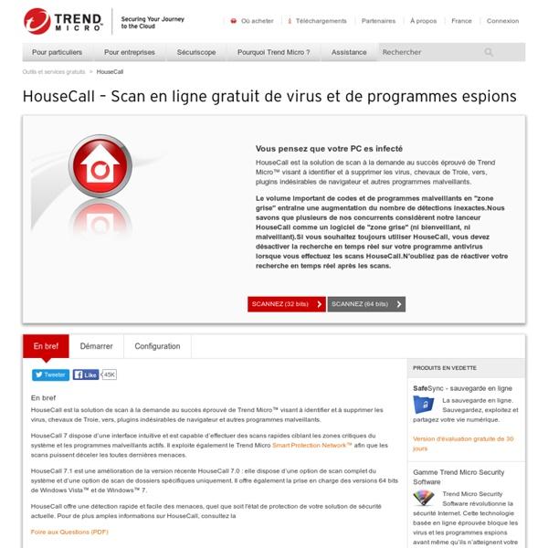 Trend Micro HouseCall – Scan en ligne gratuit de virus et de pro