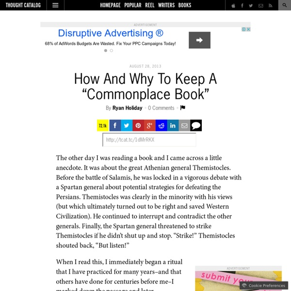 """How And Why To Keep A """"Commonplace Book"""""""