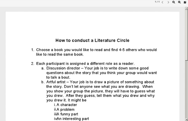 How to conduct a Literature Circle