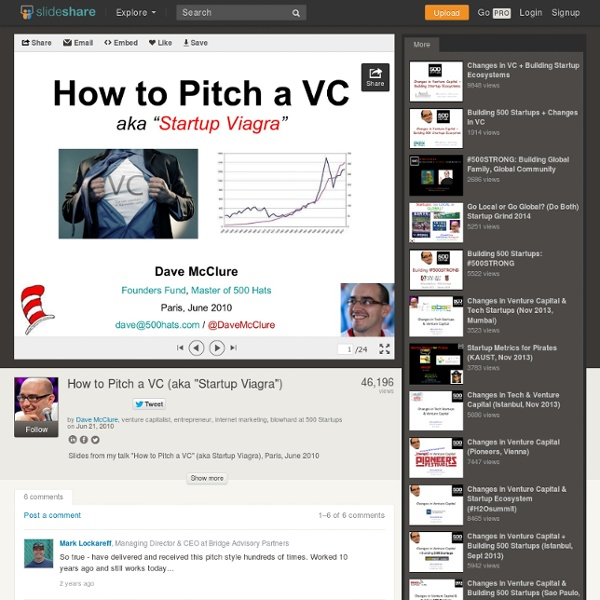"How to Pitch a VC (aka ""Startup Viagra"")"