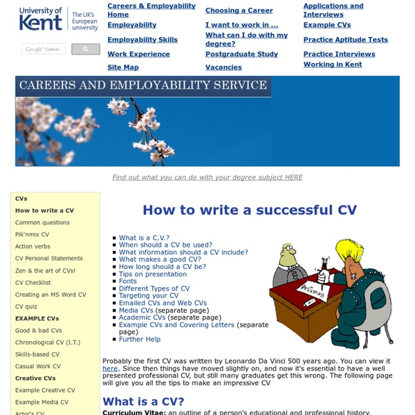 How to write a successful CV