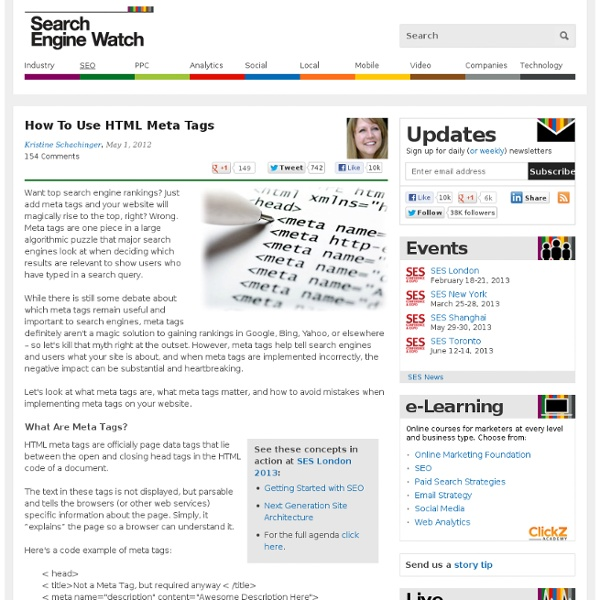 How To Use HTML Meta Tags - Search Engine Watch (SEW)