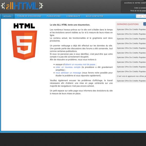 All HTML – technologies et actualités du web