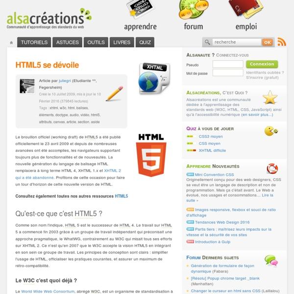 HTML5 se dévoile - Alsacréations