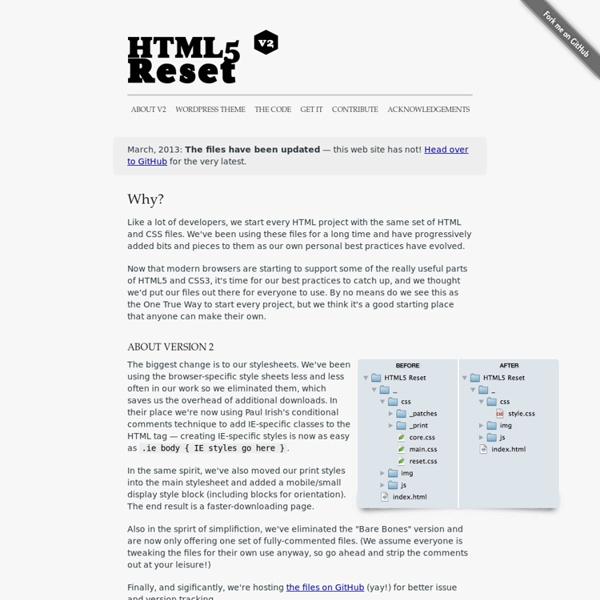 HTML5 Reset A simple set of templates for any project