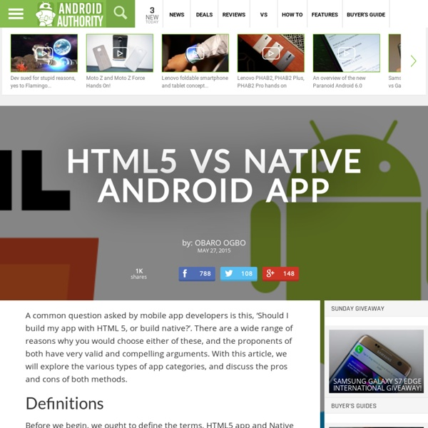 HTML5 vs Native Android App