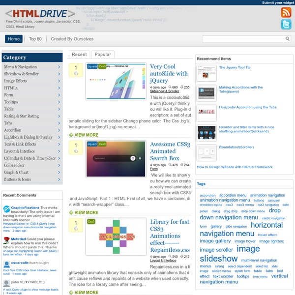 HtmlDrive - Free Dhtml scripts,Jquery plugins,Javascript,CSS,CSS3,Html5 Library