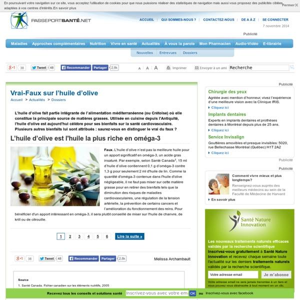 L'huile d'olive : une bonne source d'Oméga-3 ?