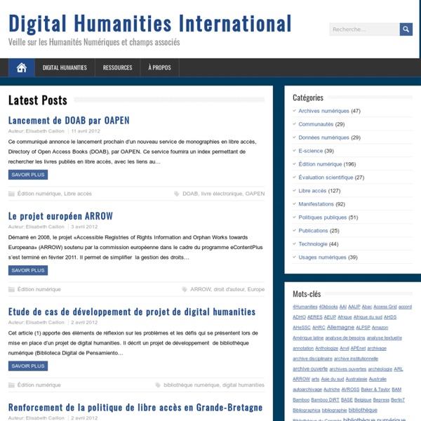 Veille sur les Humanités Numériques et champs associés