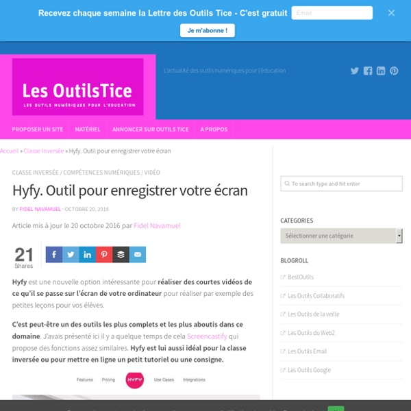 Hyfy. Outil pour enregistrer votre écran – Les Outils Tice