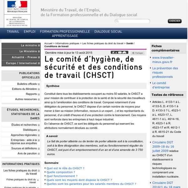 Le comité d'hygiène, de sécurité et des conditions de travail (CHSCT)