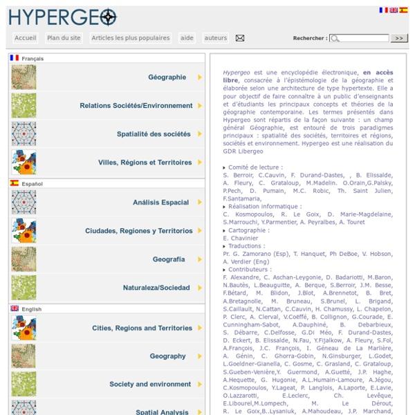Hypergéo, encyclopédie en ligne consacrée à l'épistémologie de la géo