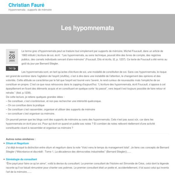 Les hypomnemata