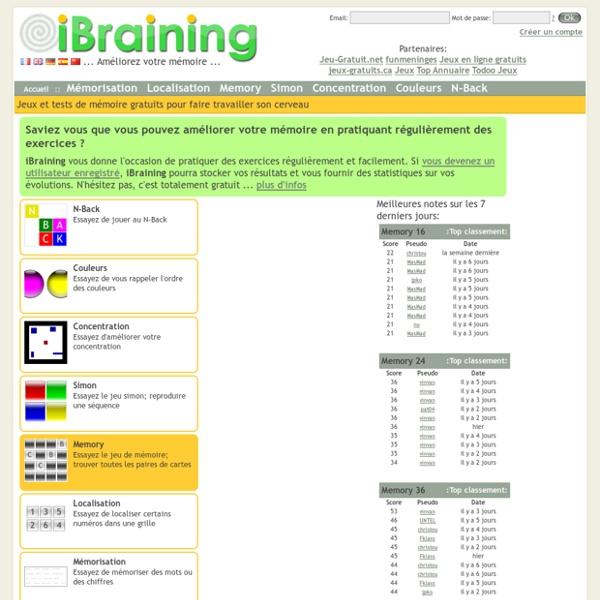 iBraining : Jeux et tests de mémoire gratuits pour faire travailler son cerveau
